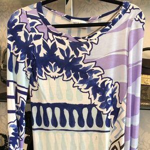 EMILIO PUCCI Multi Color Print 3/4 Sleeve Dress